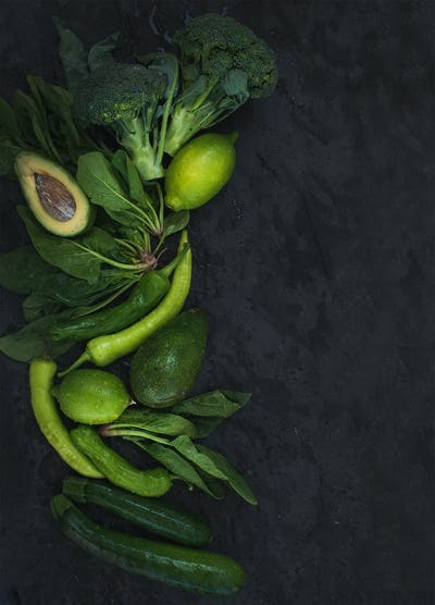 Raw green vegetables set. Broccoli, avocado, pepper, spinach, zuccini, lime