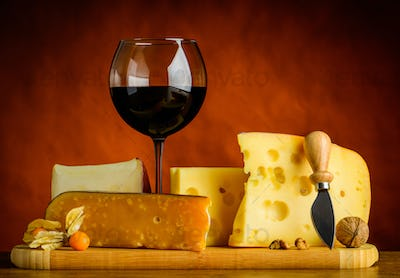 Swiss Emmental Cheese and Red Wine