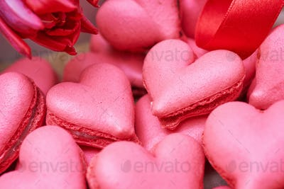 Heart-shaped macarons. Creative decoration for Valentine's Day