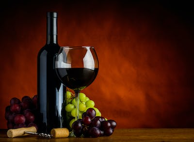 Wine and Grapes with Copy Space