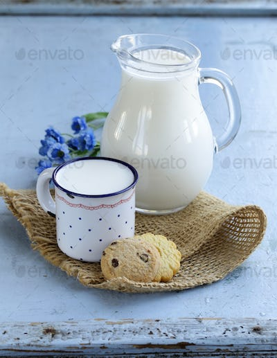 Jug with Milk on Wooden Table