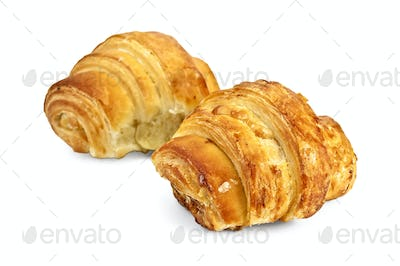 Two golden croissant