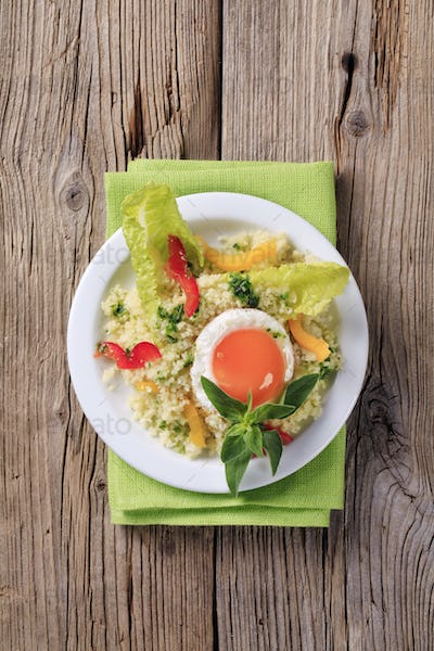 Couscous and fried egg