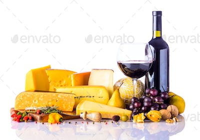 Cheese and Wine on White Background