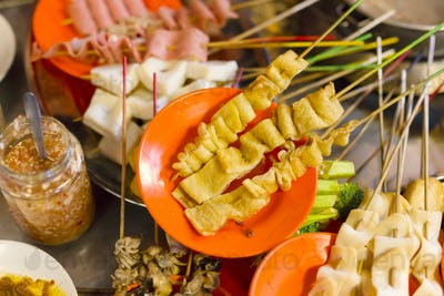 Traditional lok-lok street food from Malaysia
