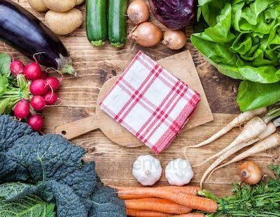 Fresh organic bio vegetables on wooden background