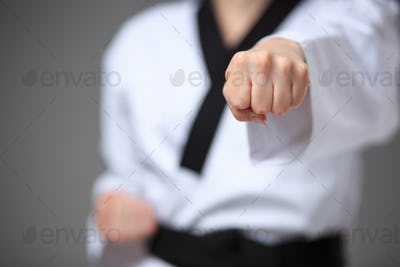 The karate girl with black belt