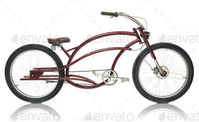 Retro styled brown bicycle isolated on a white