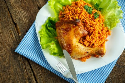 Tasty dish of chicken thigh with rice