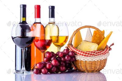 Red, White and Rose Wine with Cheese