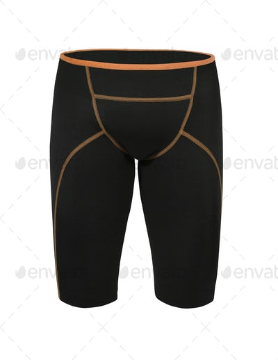 black tight cycling shorts isolated on white background