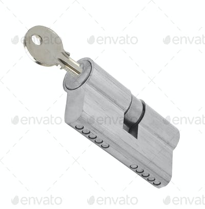 padlock with key isolated on a white background