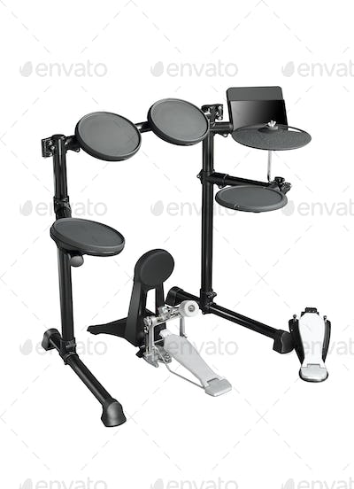 Drums set on white background
