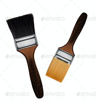 Paint brush on a white background