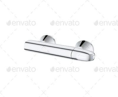 Shiny Shower Water Chrome Faucet Isolated on White Background