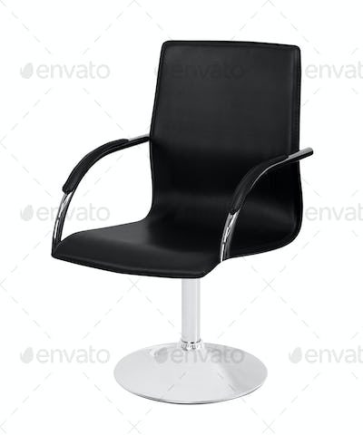 The office chair from black leather isolated ob white