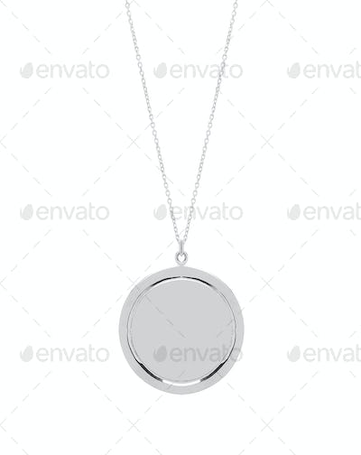 Vintage metal pendant isolated on white background