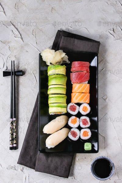 Sushi set nigiri and rolls