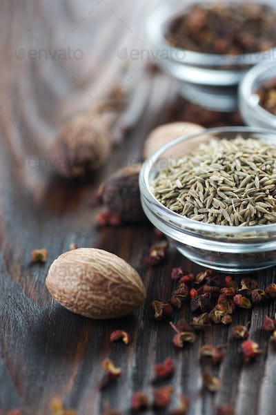 Spices. Caraway And Nutmeg