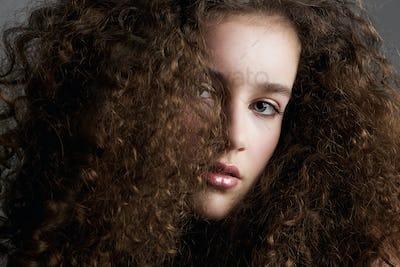 Curly hair beauty fashion model