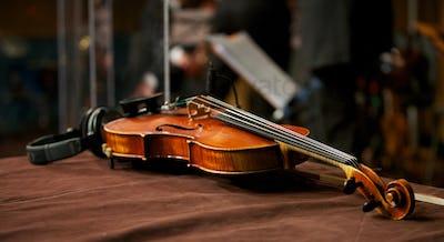 Violin in Music Studio with Headphones