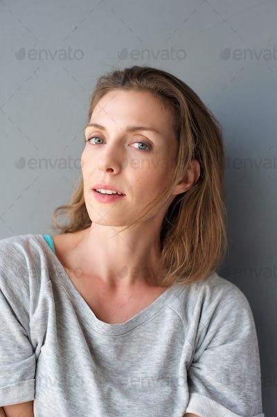 Close up portrait of an older female fashion model