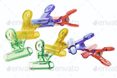 Colorful plastic paper clips