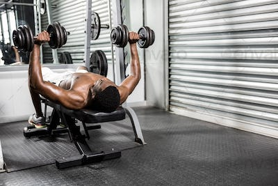 Shirtless man lifting dumbbells on bench at the crossfit gym