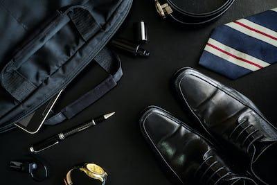 men accessories on black background