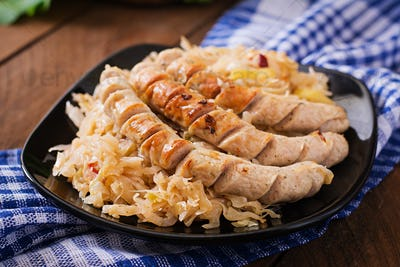 Munich sausages with fried cabbage