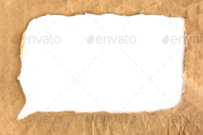 Crumpled grunge brown paper bubble isolated