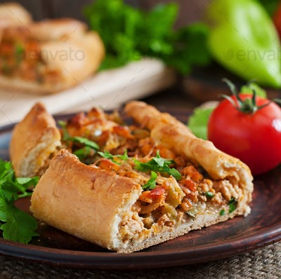 Turkish pide traditional food with beef and vegetables