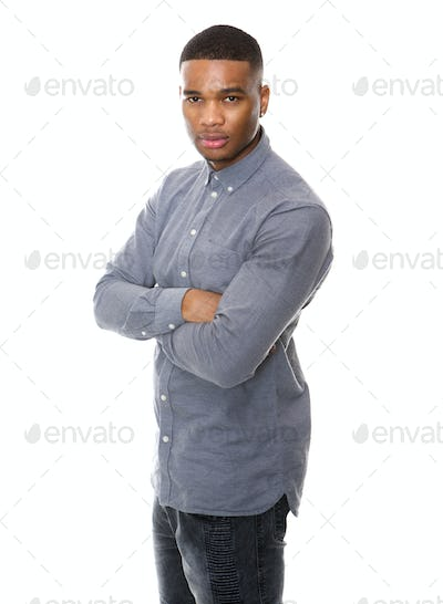Serious african american man posing with arms crossed