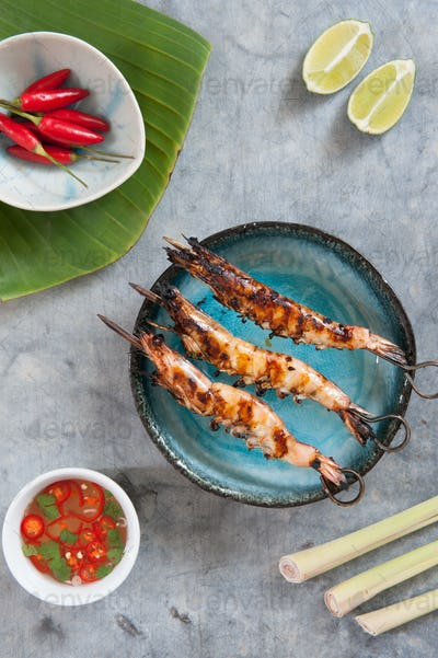 Aerial View Grilled Prawns Close-up