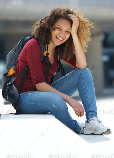 Female college student smiling outdoors