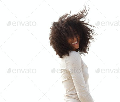 Woman with hair blowing in the wind