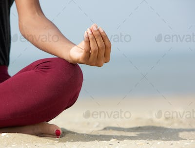 Lotus position with yoga hands