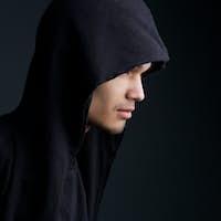 Man with hooded sweatshirt