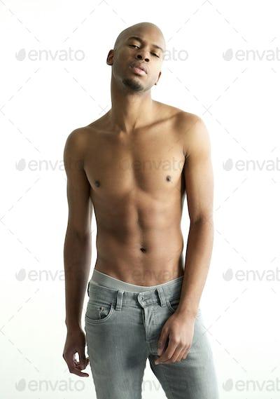 Shirtless black male fashion model