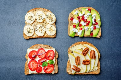 set healthy sandwiches with vegetables and fruits