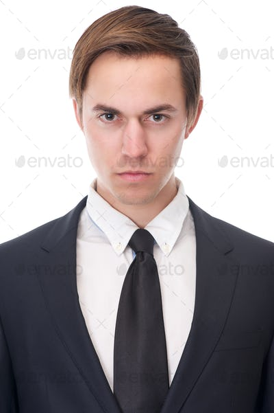 Close up portrait of a serious businessman