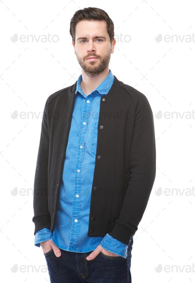 Handsome young man standing on isolated white background