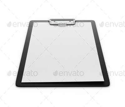 Clipboard with an empty sheet of paper isolated on the white bac