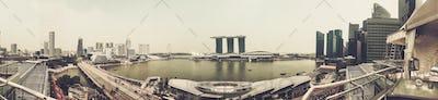 Singapore - Nov 13: Panorama view of Marina Bay Sands at Singapore. November 13, 2015