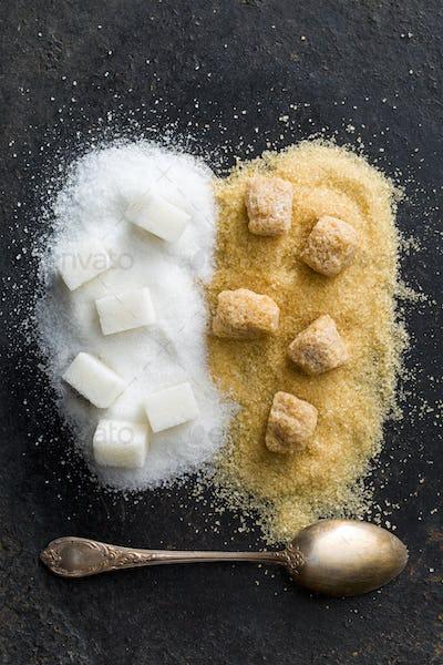 unrefined cane and white sugar