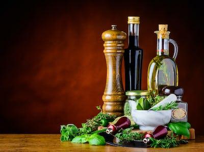 Balsamic Vinegar, Olive Oil and Green Herbs