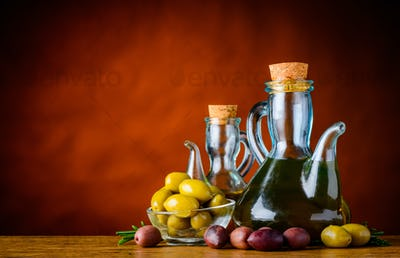 Bottle Olive Oil and Olives and Copy Space