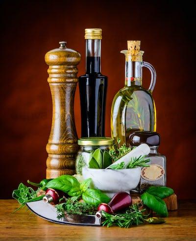 Green Herbs, Food Seasoning and Olive Oil