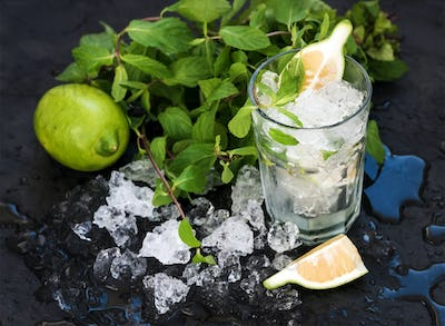 Mojito cooking set. Bunch of fresh mint, lime, chipped ice and coctail glass