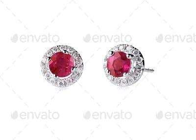 Red ruby halo setting diamond stud earrings set